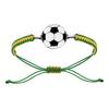 Bracelet ballon de foot jaune & vert acier, cordon coulissant