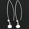 Boucles Perles d'eau douce blanche & Argent, hauteur 5.5cm