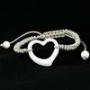 Bracelet Céramique blanche, Coeur ajouré, cordon gris réglable