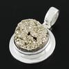 Pendentif Pyrite & argent 925, haut. 3.2cm, photo contractuelle