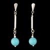 Boucles turquoise & argent 925, haut. 3.2cm