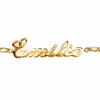 Bracelet prénom découpé plaqué or, caîne alternée 1+1 de 2mm, régl. de 17 à 18.5cm