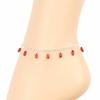 Chaîne de cheville corail rouge & argent 925, pampilles ovales lisses, réglable jusque 25cm