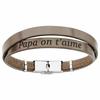 Bracelet papa on t'aime cuir marron double, régl. jusque 20cm