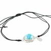 """Bracelet larimar & argent 925, qualité """"extra"""" sur cordon noir ajustable"""