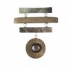Broche bois, nacre & argent, haut. 6cm, photo contractuelle