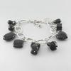 Bracelet onyx & argent, long. réglable de 18 à 22cm