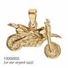 Pendentif moto cross ou Trial en Vermeil (or 750 sur argent 925), 3cm x 2.5cm de haut
