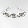 Bracelet quartz rutilé noir & argent 925, réglable jusque 19cm, photo contractuelle