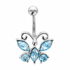 Piercing nombril papillon argent 925 & tige acier chirurgical, oxydes bleus, hauteur 2.6cm
