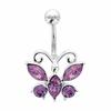 Piercing nombril papillon argent 925 & tige acier chirurgical, oxydes violets, haut. 2.6cm
