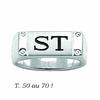 Chevalière 7mmx2cm argent 925 (12g), option 1 ou 2 Initiales + gravure intérieure, T. 50 au 70 !