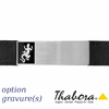 Bracelet Salamandre cuir noir & acier + gravure, fermoir amovible 19-21cm