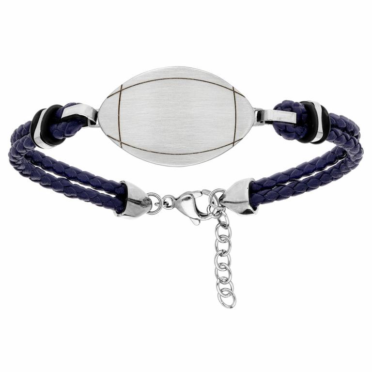 Bracelet Ballon De Rugby + Gravure, Cuir Bleu & Acier