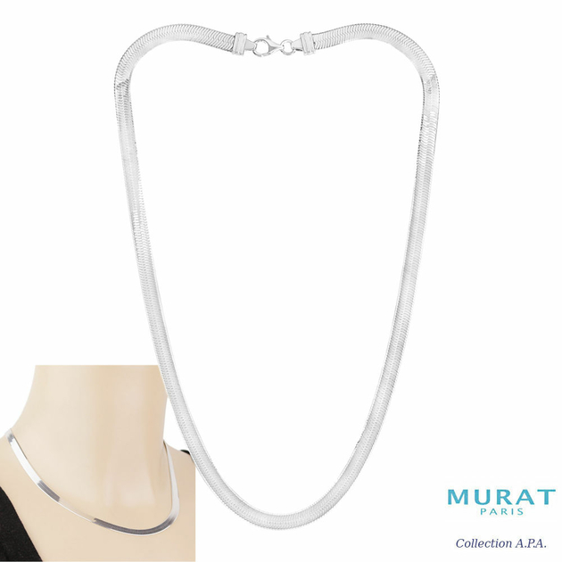 Bijoux Murat Argent 925 : Collier miroir mm argent  g ou rh?di? cm