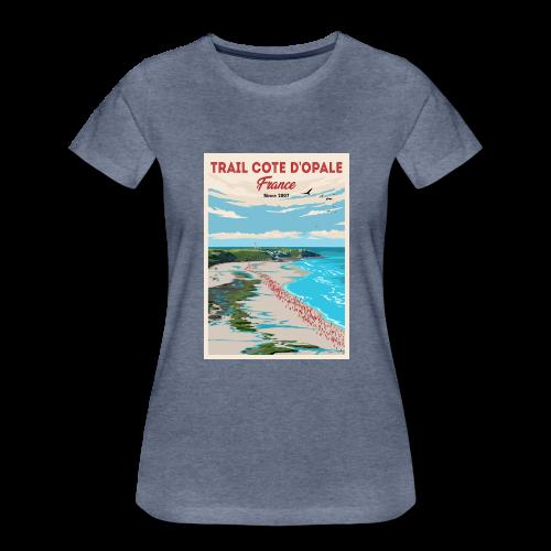 Tee Shirt Trail Côte d\'Opale Femme Bleu Chiné Cap Gris Nez