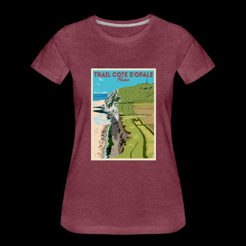 Superbe tee shirt Trail Côte d\'Opale Premium bordeaux Chiné Femme Cap Blanc Nez