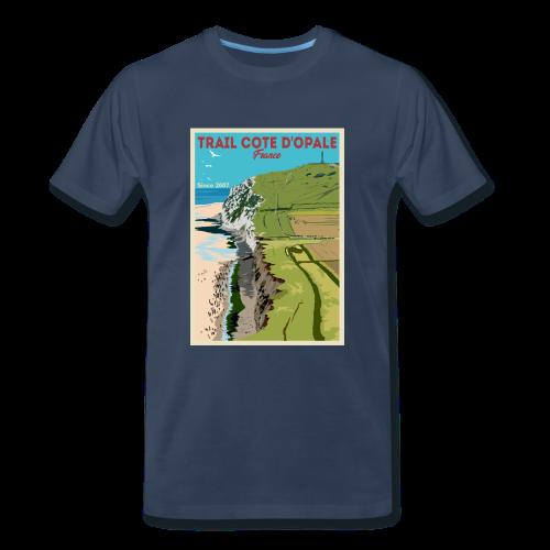 Tee shirt Trail Côte d\'Opale Homme Premium Bleu Marine Cap Blanc Nez