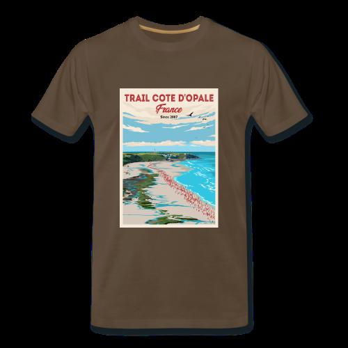 Tee Shirt Trail Côte d\'Opale Homme Marron Bistre Cap Gris Nez
