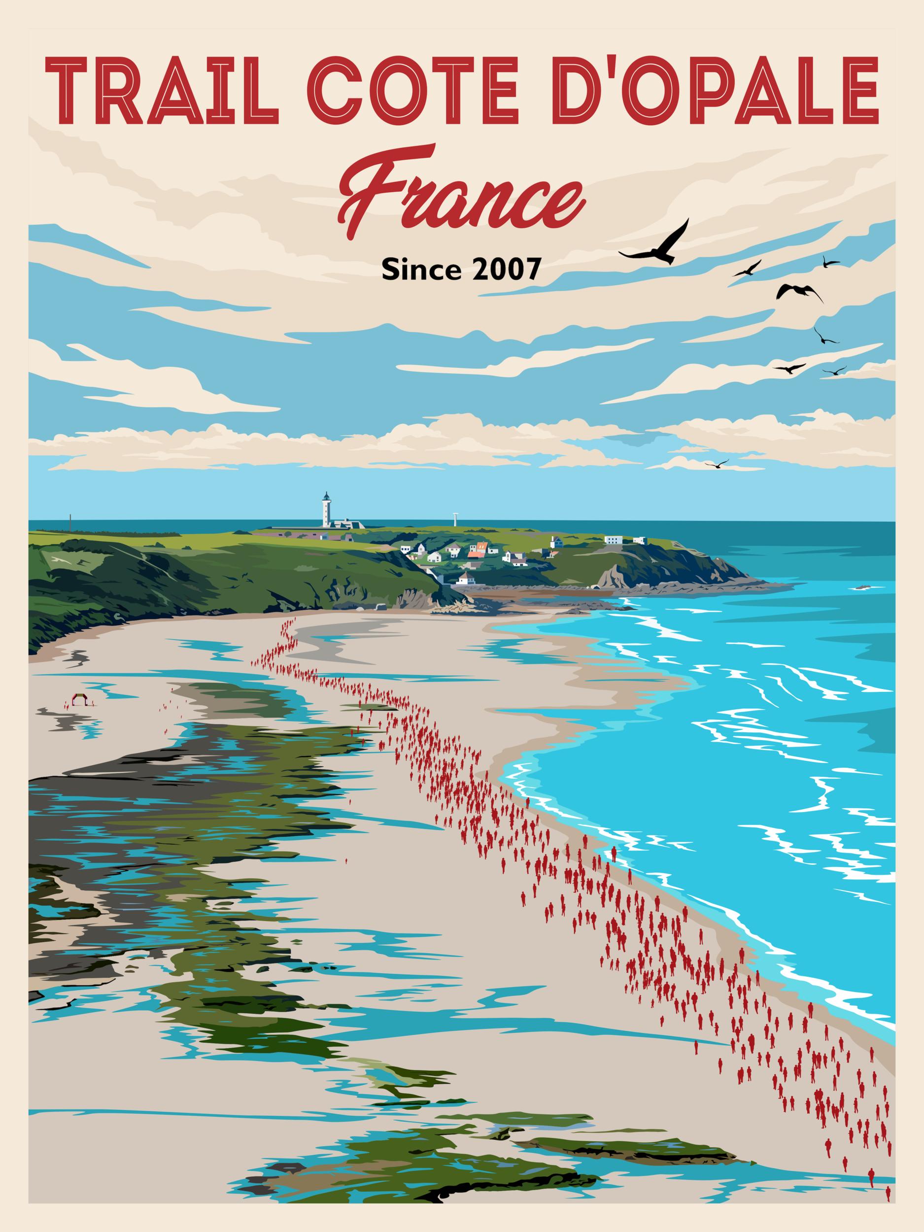 Lot de 2 magnifiques affiches Trail Côte d\'Opale 40x60 cm Papier épais 350 g  ( envoyées sous carton protégé)