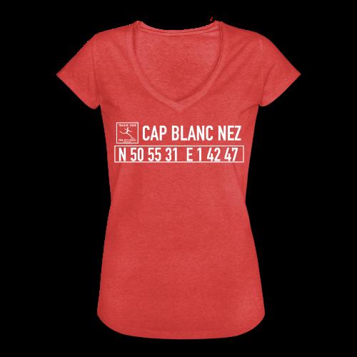 Tee shirt Femme Vintage Rouge Chiné Position Cap Blanc Nez Trail Côte d\'Opale