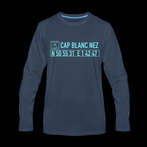T-shirt manches longues Premium Homme Bleu marine position Cap Blanc Nez
