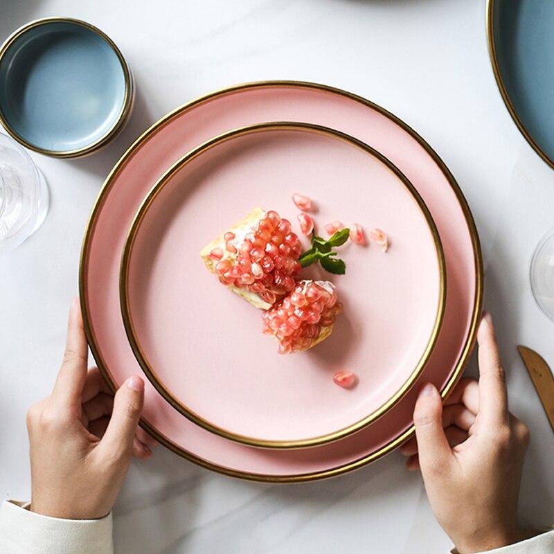 Color : Plate set Vaisselle en c/éramique Assiette Steak soucoupe en porcelaine d/îner outil Arts de la table Golden Set bord occidental aliment assiette tasse de caf/é
