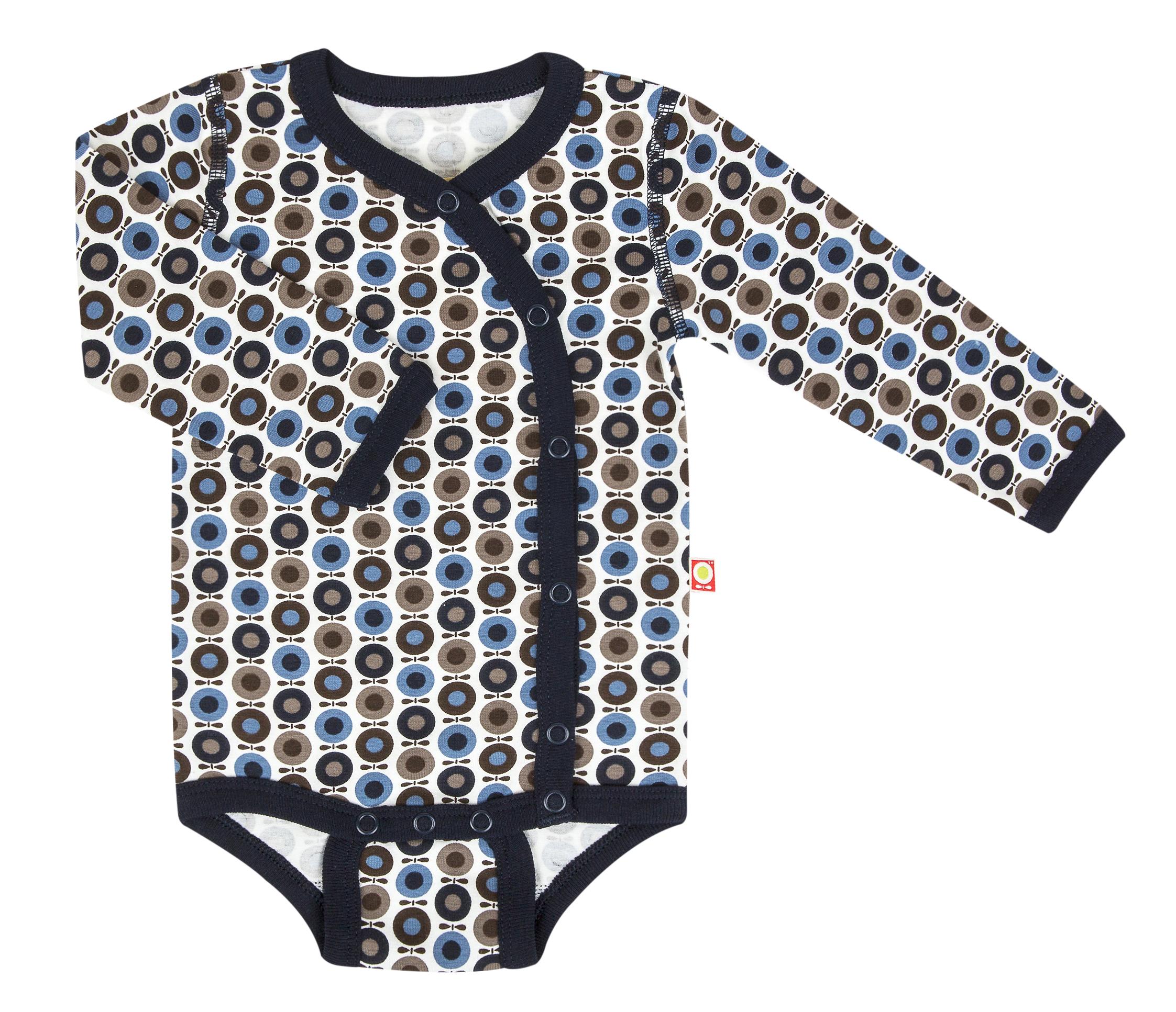 Katvig - Body cache-cœur avec manches longues en coton bio - couleur bleu/marron