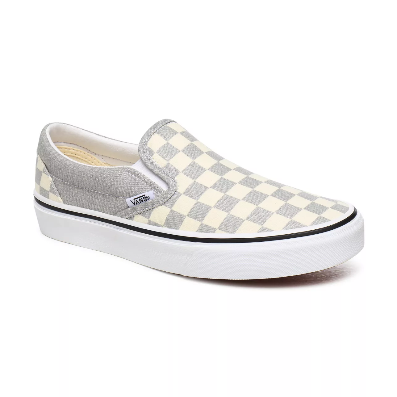 SHOES VANS CLASSIC SLIP-ON (CHECKERBOARD) SILVER/TRUE WHITE