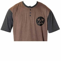 Tee shirt DEMOLITION Henley button tan