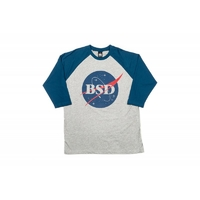 Tee shirt BSD Space Agency baseball 3/4 sleeve navy grey