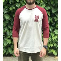 Tee shirt UNICORN Maneki Raglan burgundy/tan
