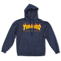 Sweat capuche TRASHER flamed navy