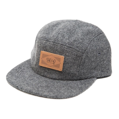 Casquette THE TRIP Leather Patch grey wool
