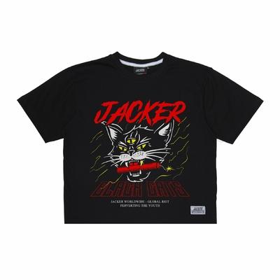 CROP TOP JACKER SAVAGE CATS BLACK