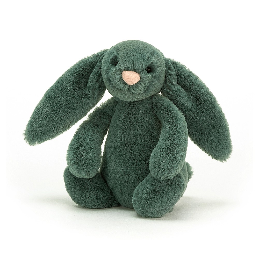 Petite peluche lapin vert forêt