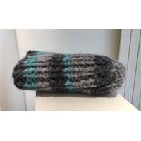 Bonnet alpaga gris et turquoise