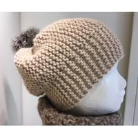 Kit bonnet alpaga pompon fausse fourrure