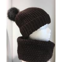 kit bonnet et snood avec pompon