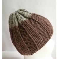 Bonnet pure laine gris et marron adulte