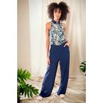 Alexa-blouse-leaves-print-&-Gaia-pants-navy2
