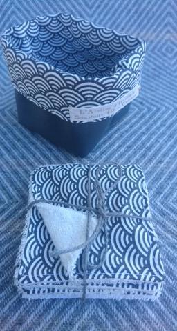 Semainier lingettes démaquillantes lavables bambou avec panière - Vagues japonaises gris anthracite/blanc