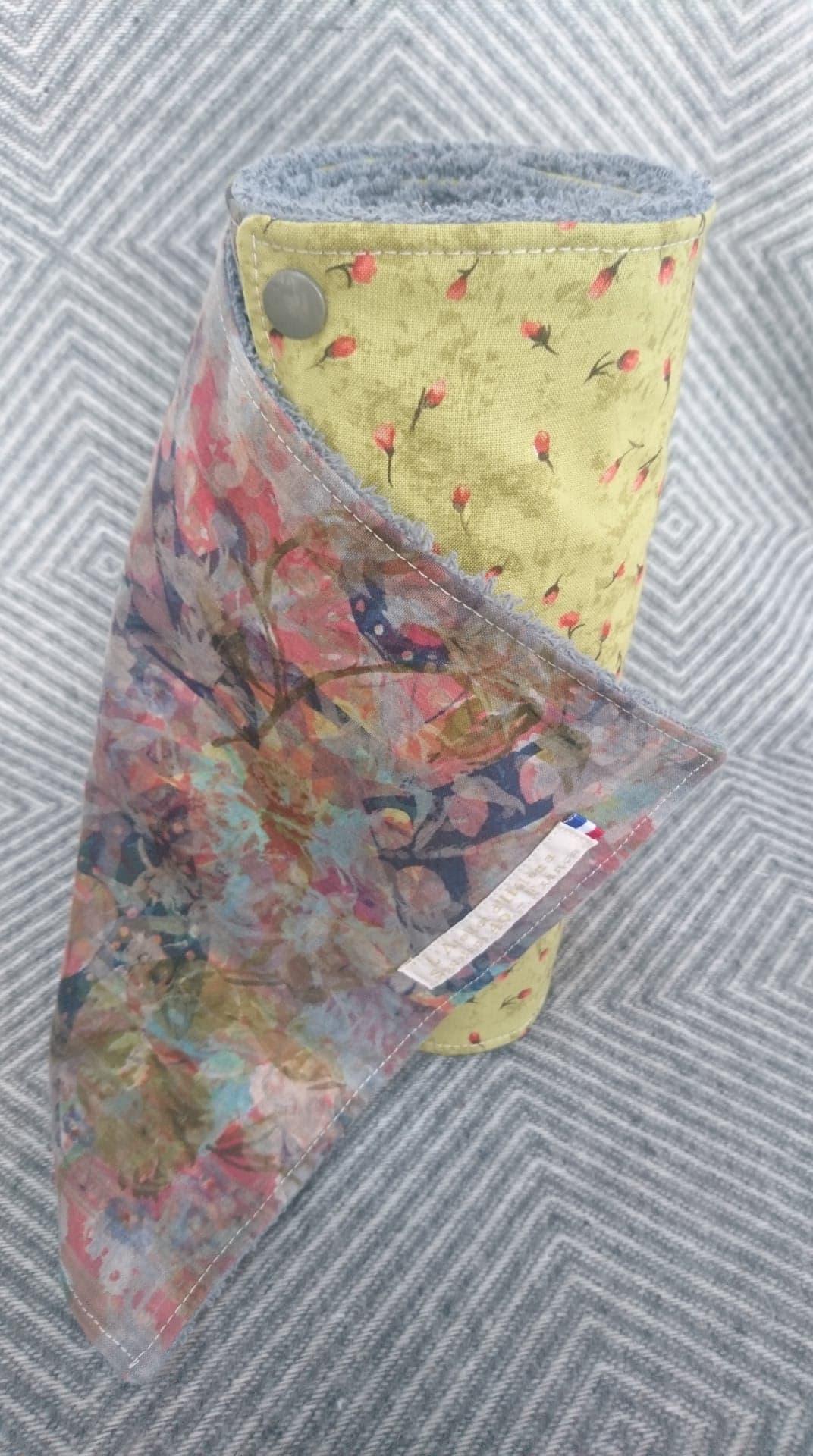Rouleau d\'essuie-tout lavable 8 feuilles coton/éponge vert/gris