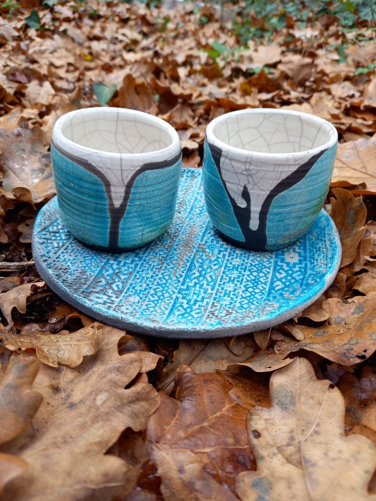 Ensemble assiette+duo tasses raku bleu