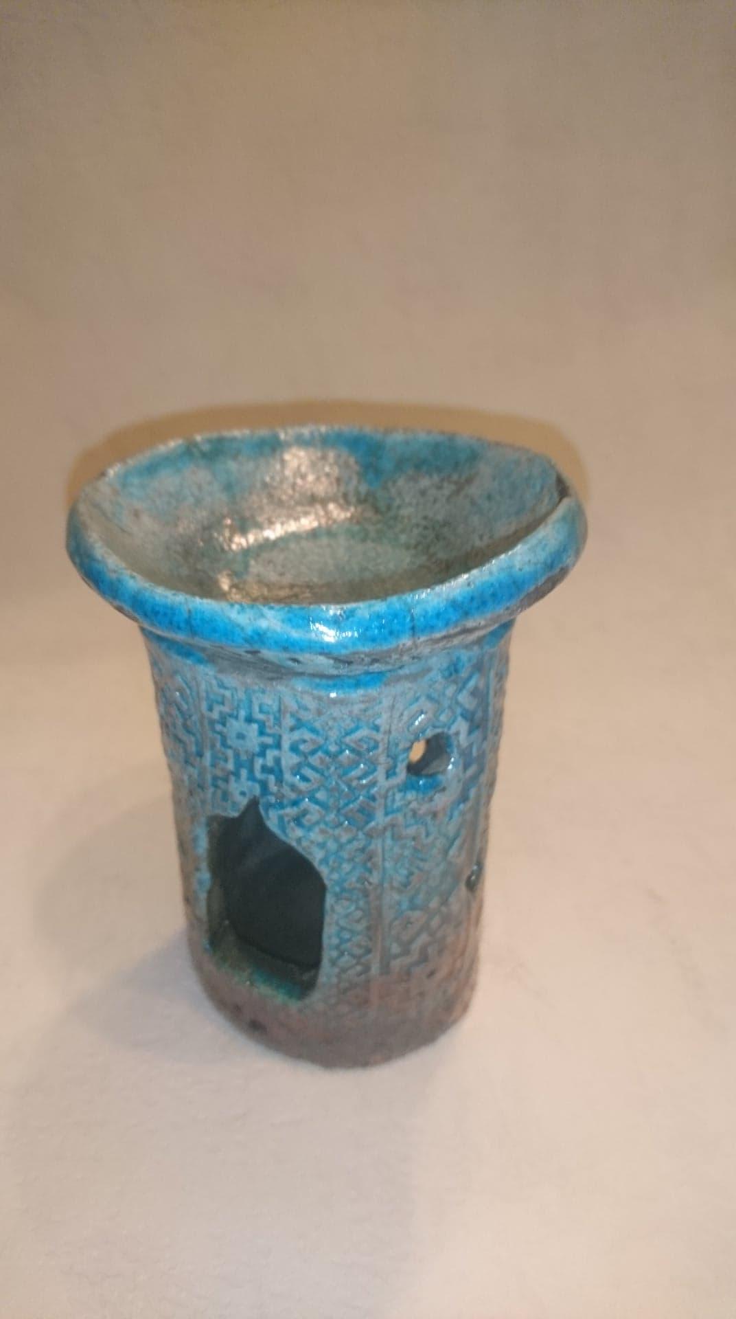 Diffuseur de parfums en céramique Raku tons bleus