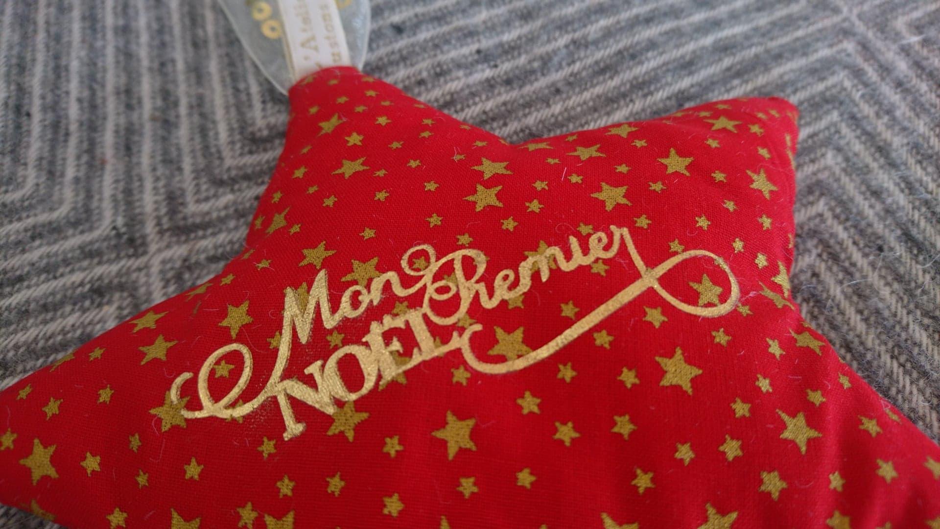 Etoile Mon premier Noël à suspendre - personnalisable Rouge & or