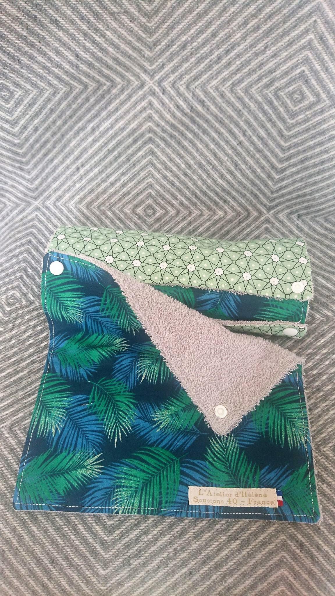 Rouleau d\'essuie-tout lavable 5 feuilles coton/éponge palmes bleu&vert d\'eau