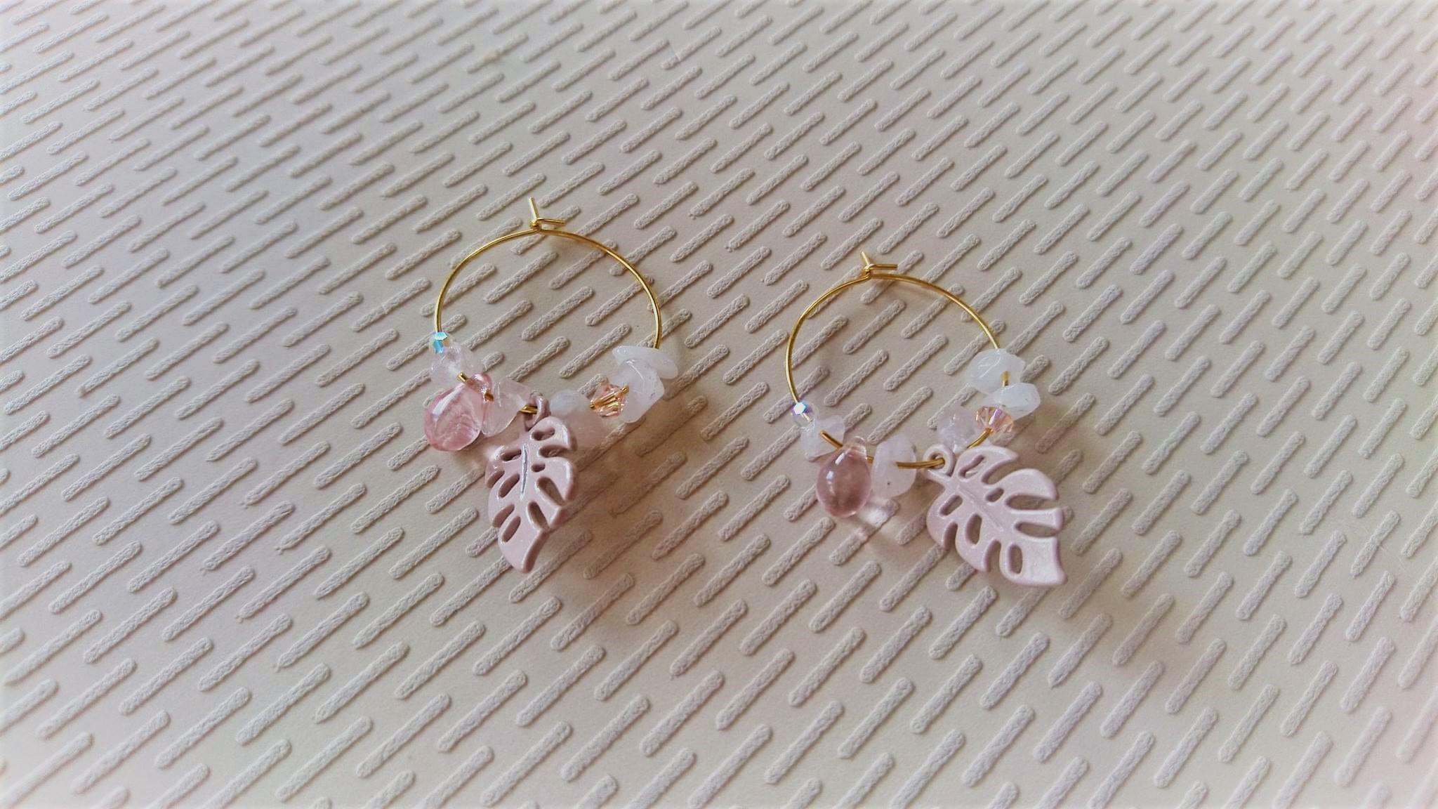Boucles d\'oreille créoles en acier inox feuille rose/or