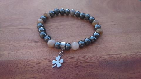 Bracelet perles et acier inoxydable - trèfle