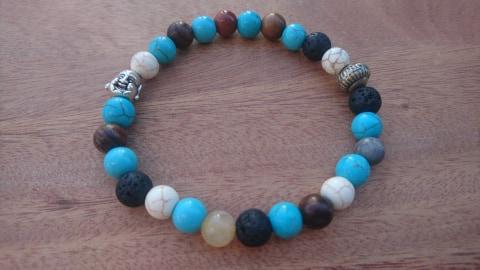 Bracelet perles turquoise et bois- bouddha